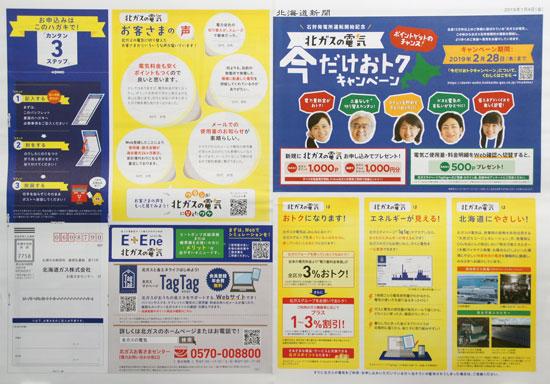 北海道ガス チラシ発行日:2019/1/4